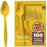 Yellow Sunshine Party Plastic Spoons pk 100