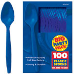 Bright Royal Blue Party Plastic Spoons pk 100