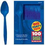 Bright Royal Blue Party Plastic Spoons pk 100