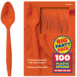 Orange Party Plastic Spoons pk 100
