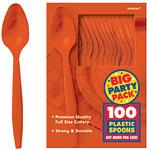 Orange Party Plastic Spoons pk 100