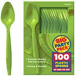 Kiwi Lime Green Party Plastic Spoons pk 100