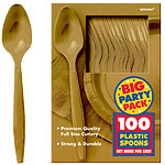 Gold Party Plastic Spoons pk 100