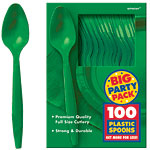 Festive Green Party Plastic Spoons pk 100