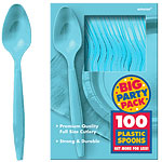 Caribbean Turquoise Party Plastic Spoons pk 100