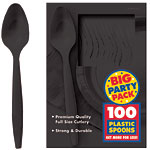 Jet Black Party Plastic Spoons pk 100