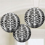 Zebra Party Globe Paper Lanterns - 25cm pk 3
