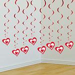 Valentines Radiant Heart Heart Hanging Swirls - 90cm pk3