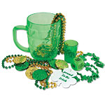 Party Mug - Shamrock beads with medallion, 6x party beads, 6x party coiins, dice and shot glass all packed in a green plastic pint mug