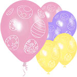 "12"" Easter Egg Printed Latex Balloons pk 6"