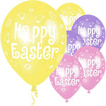 "12"" Happy Easter Printed Latex Balloons pk 6"