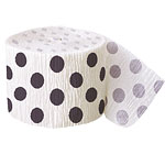 Black Polka Dot Crepe Decorating Roll - 30 foot long