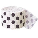 Black Polka Dot Crepe Decorating Roll - 30 foot long