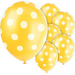 Polka  Dots 12'' Yellow Latex Balloons Pk 6