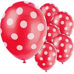 Polka  Dots 12'' Red Latex Balloons Pk 6