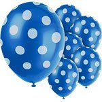 Polka  Dots 12'' Blue Latex Balloons Pk 6