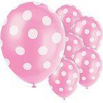 Polka  Dots 12'' Pink Latex Balloons Pk 6