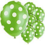 Polka  Dots 12'' Lime Green Latex Balloons Pk 6