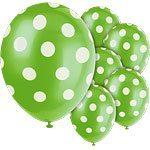 Polka  Dots 12'' Lime Green Latex Balloons Pk 6