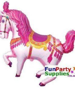 Pink Circus Horse Foil Balloon 109cm x 76cm