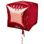"15"" Cubez™ Red Foil Balloon - each"