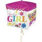 "15"" Cubez™ Baby Girl Foil Balloon - each"