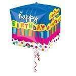 "15"" Cubez™ Birthday Cake Foil Balloon - each"