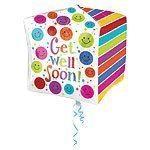 """15"""" Cubez™ Get Well Soon Foil Balloon - each"""