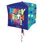 "15"" Cubez™ Happy Birthday Blue Foil Balloon - each"