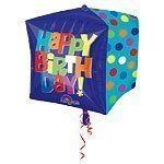 "15"" Cubez™ Happy Birthday Blue Foil Balloon - each"