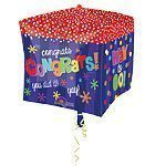 "15"" Cubez™ Congratulations Foil Balloon - each"