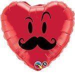 Mr Moustache Balloon - 18'' Foil Heart Shaped Balloon
