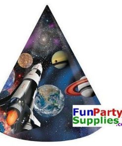 Space Blast Party Cone Hats Pk 8
