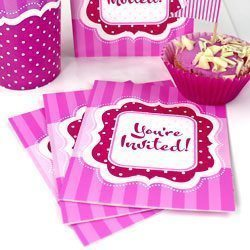 Perfectly Pink Birthday Invitation Cards Pk 8