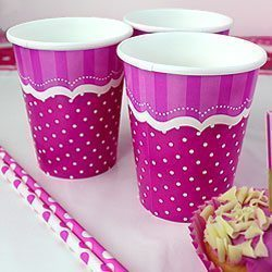 Perfectly Pink Birthday Paper Cups 256ml Pk 8