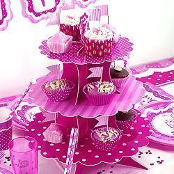 Perfectly Pink Birthday 3 Tier Cake Stand
