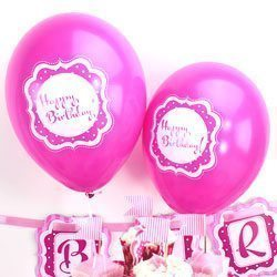 Perfectly Pink 10'' Happy Birthday Printed Latex Balloons Pk 6