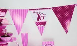 Perfectly Pink 16th Birthday Bunting - 12ft