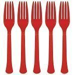 Apple Red Party Plastic Forks Pk 20