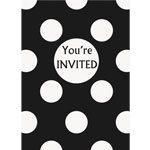 Black Polka Dot Party Invites pk 8