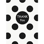 Black Polka Dot Party Thank You Cards pk 8