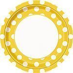 Yellow Polka Dot Paper Party Plates - 23cm Pk 8