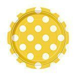 Yellow Polka Dot Paper Party Dessert Plates - 17cm Pk 8