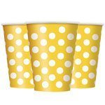 Yellow Polka Dot Paper Party Cups - 340mls Pk 6