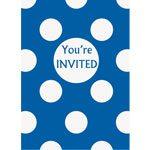 Blue Polka Dot Paper Party Invites Pk 8