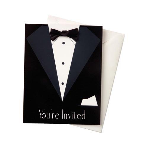 Black Tie Tuxedo Party Invites