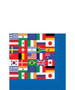 International Flag Party Paper Beverage Napkins