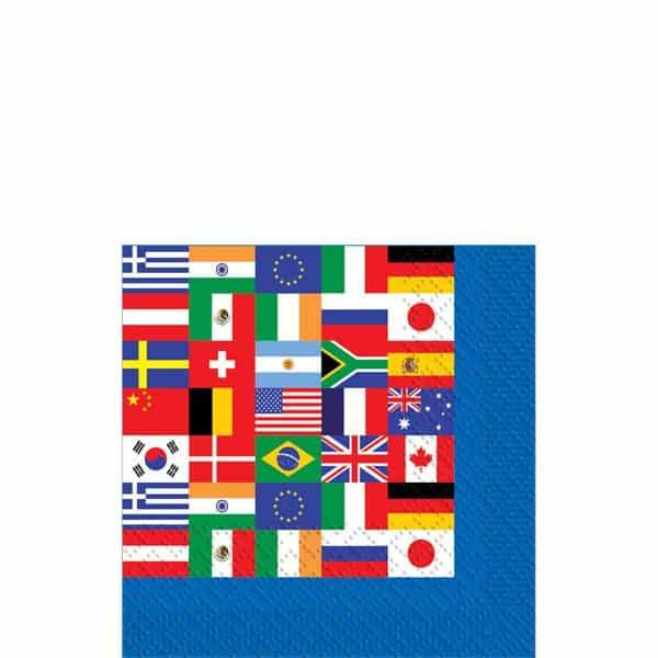International Flag Party Paper Beverage Napkins