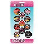 Rock n Roll 50's Classic Button Badges  Pk 10