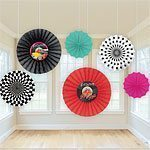 Rock N Roll Grease 50s Classic Paper Fans - 40cm Pk 6